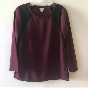 J. Crew Factory Burgundy Long Sleeve Blouse 4